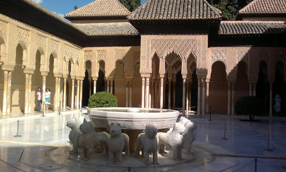 Alcazaba, Granada, Andalucia, Fuente De Los Leones