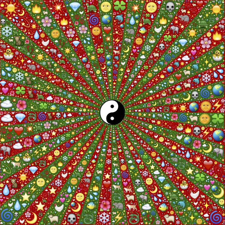 Yin-Yang, Strahlen, Ausstrahlend, Konvergenz, Divergenz