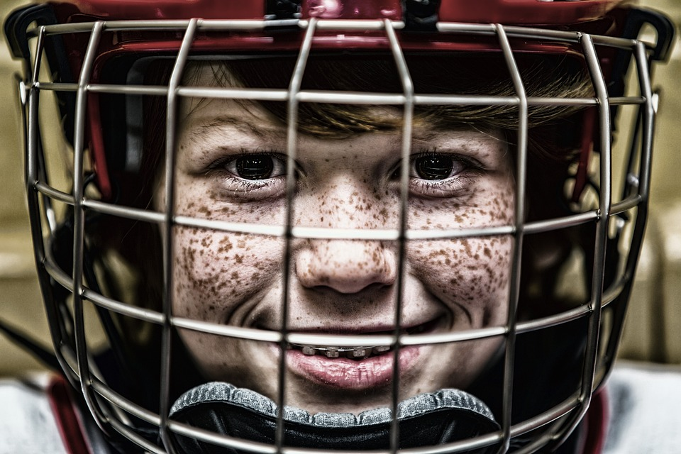 Hockey, Helmet, Face, Sport, Portrait, Grid, Visor