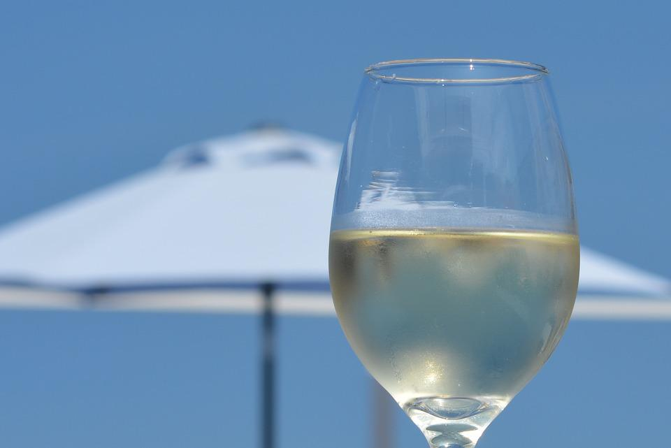 Wine, Holiday, Glass, Blue Sky, White Wine, Relaxation