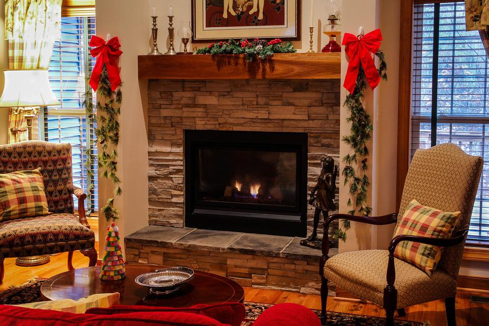 Kamin Mantel Wohnzimmer Gemütlich Weihnachten