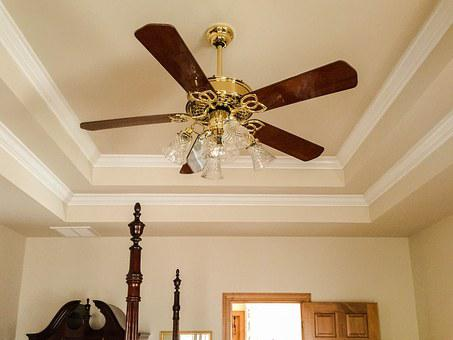 Ceiling Fan, Tray Ceiling, Crown Molding