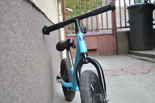 Bicicleta, Azul, Estudiante, Cabrito