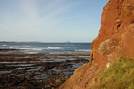 Cliff Edge, Rocks, Bass Rock, Sea, View