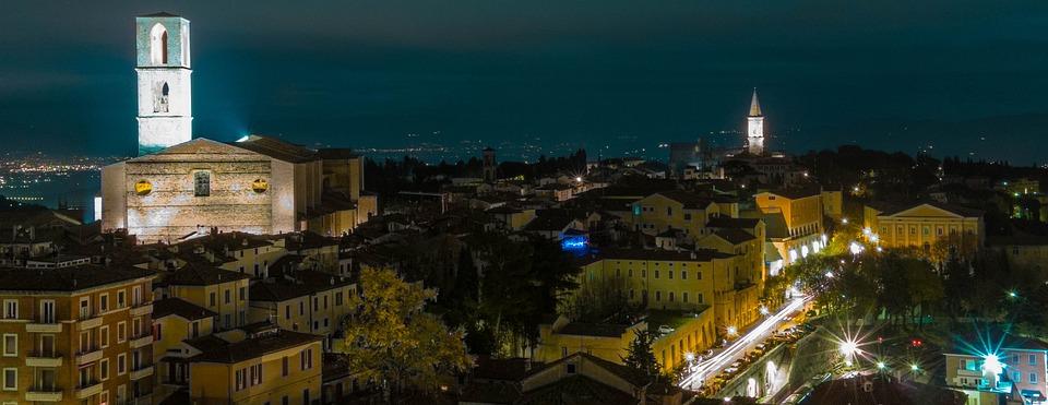 Perugia, Noche, Italia, Paisaje, Ciudad