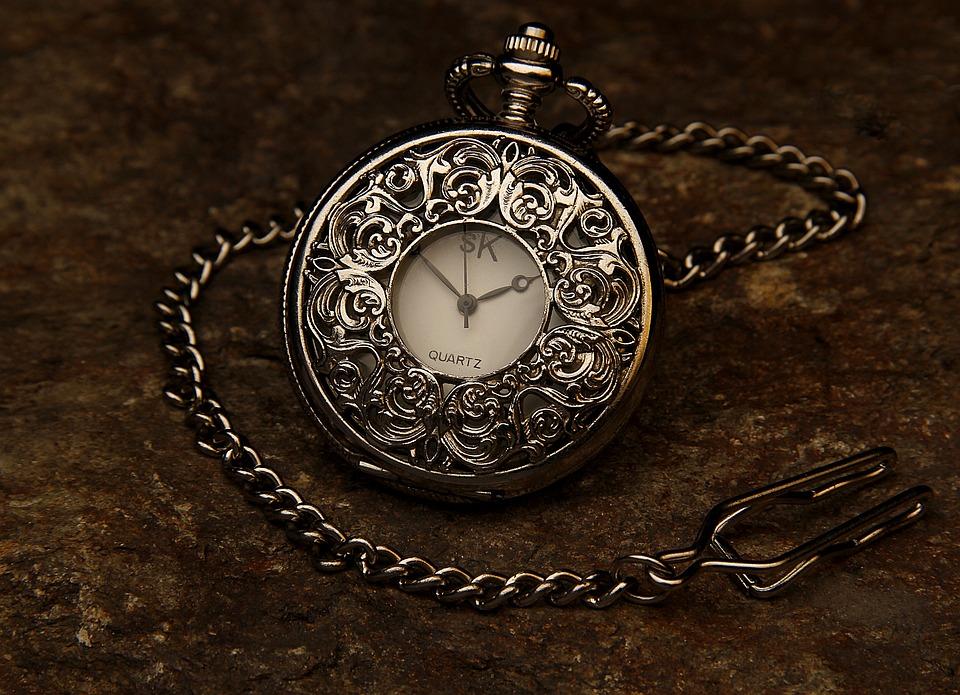 Reloj De Bolsillo, Joya, Cadena, Piedra, Tiempo, Reloj