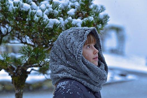 Dziecko, Dziewczyna, Śnieg, Zima, Zimno