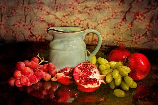 Still Life, Pitcher, Jar, Fruits