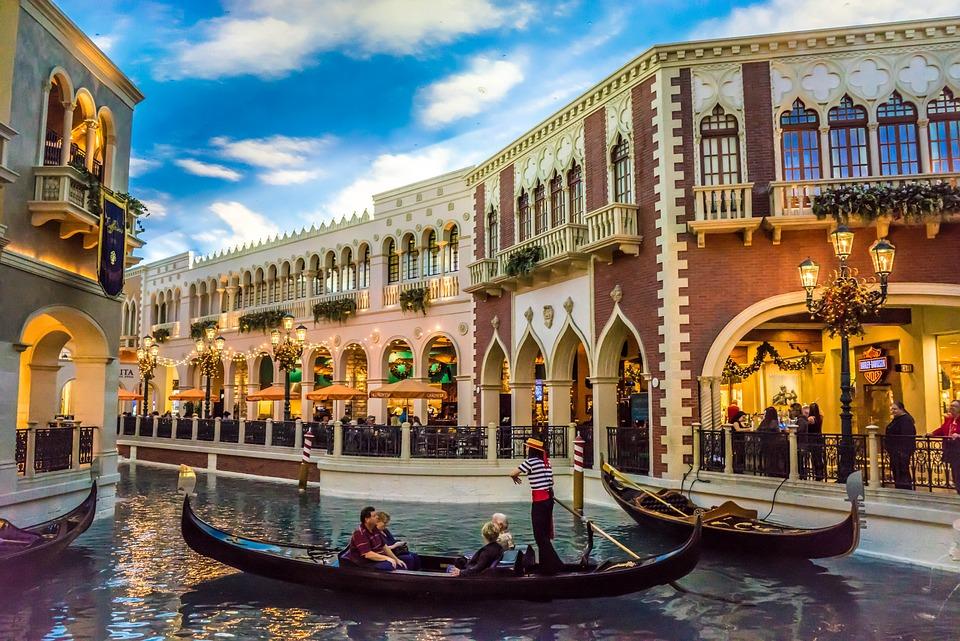 ベネチア, ラスベガス, ゴンドラ, 運河, アーキテクチャ, 建物, ホテル, カジノ,