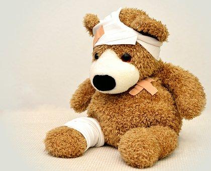 Teddy, Teddybär, Verband, Krank