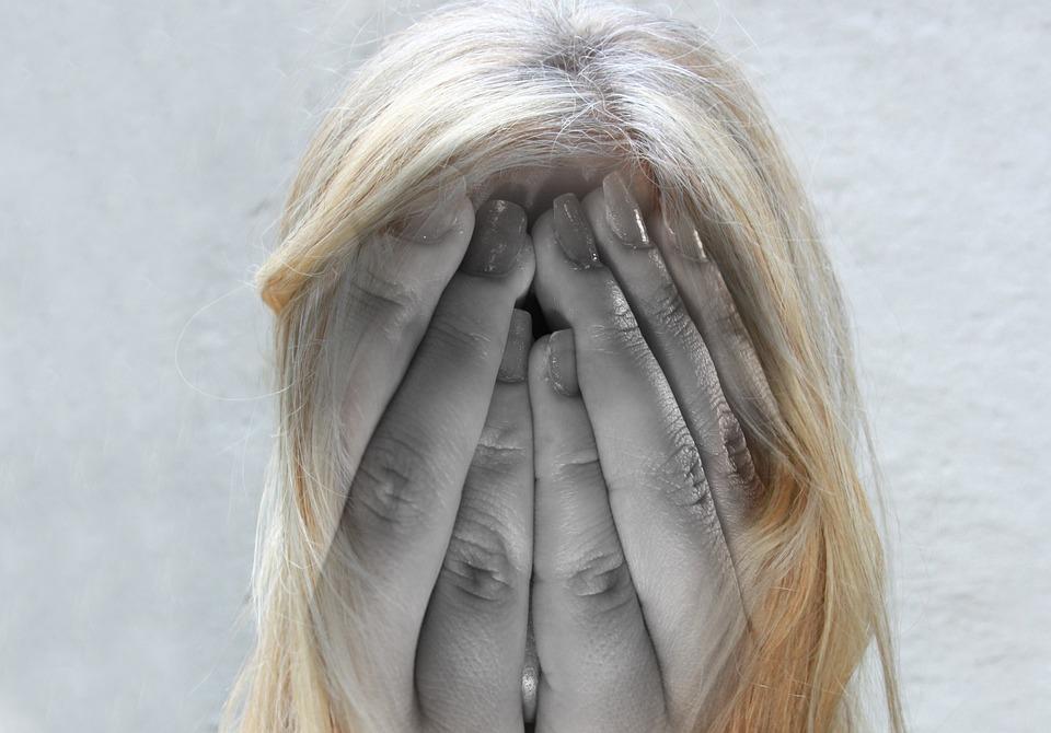 Kobieta, Twarz, Psychoza, Głowy, Ręce, Ból Głowy