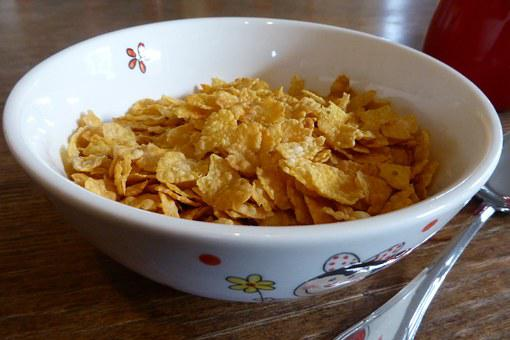 Breakfast, Cornflakes, Cereal Bowl, Eat