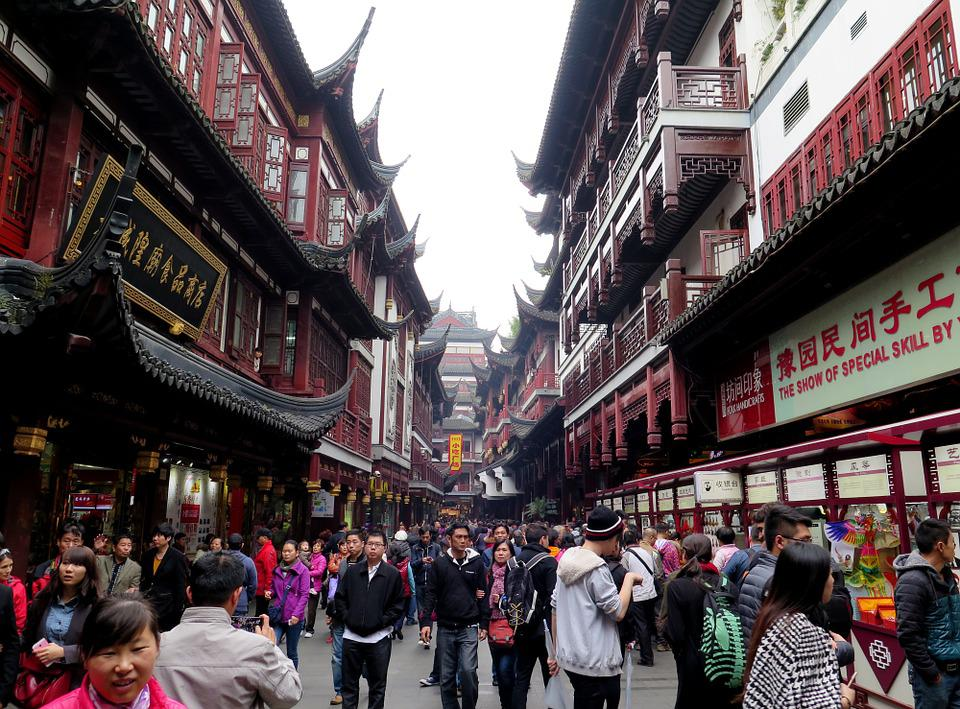 Shanghai, Old Town, Renmin Road, Crowd, Building