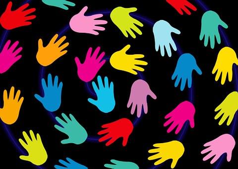 Händer, Bakgrund, Svart, Färgglada