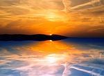 wieczorem, odbicie, zachód słońca