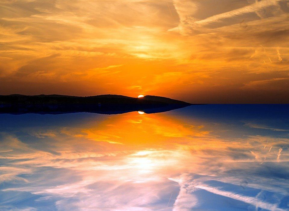 Evening, Reflection, Sunset, Sky, Sea, Clouds, Twilight