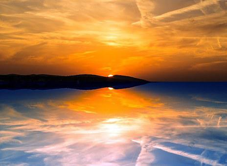 Evening, Reflection, Sunset, Sky, Sea