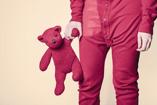 Teddy Bear, Whimsical, Toy, Red, Funny