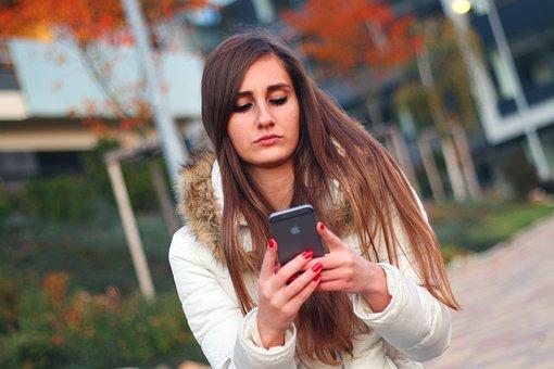 スマート フォン, 女性, 女の子, Iphone, アップル Inc, タッチ