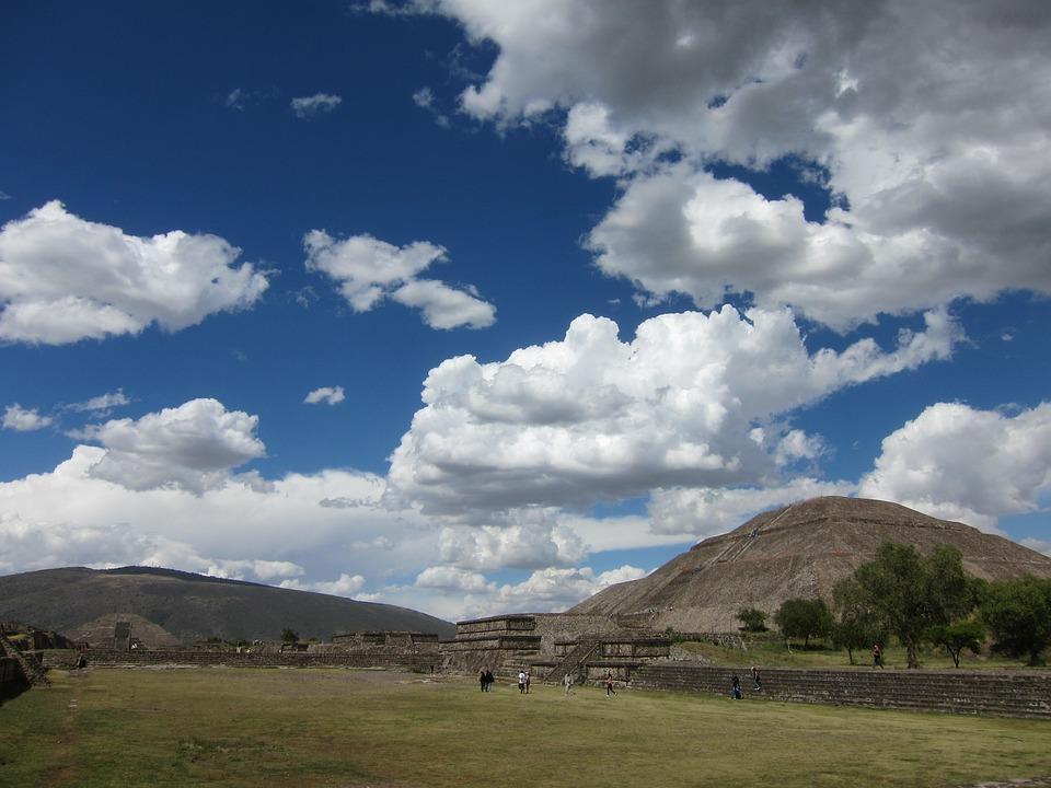 México, Ruinas, Teotihuacan, Pirámide, Cielo Azul