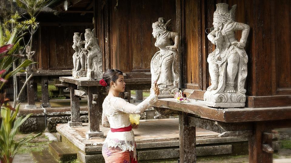 Indonesië, Bali, Vrouw, Bidden, Tempel, Religie, Offer