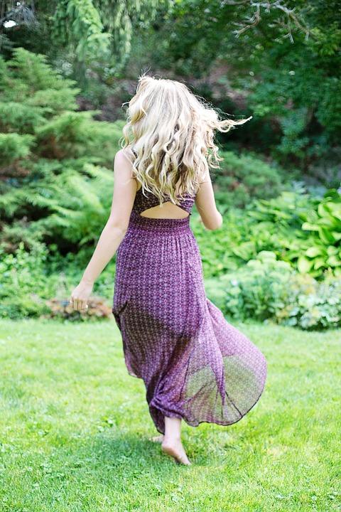 Girl, Walking Away, Long Dress, Long Hair, Blonde