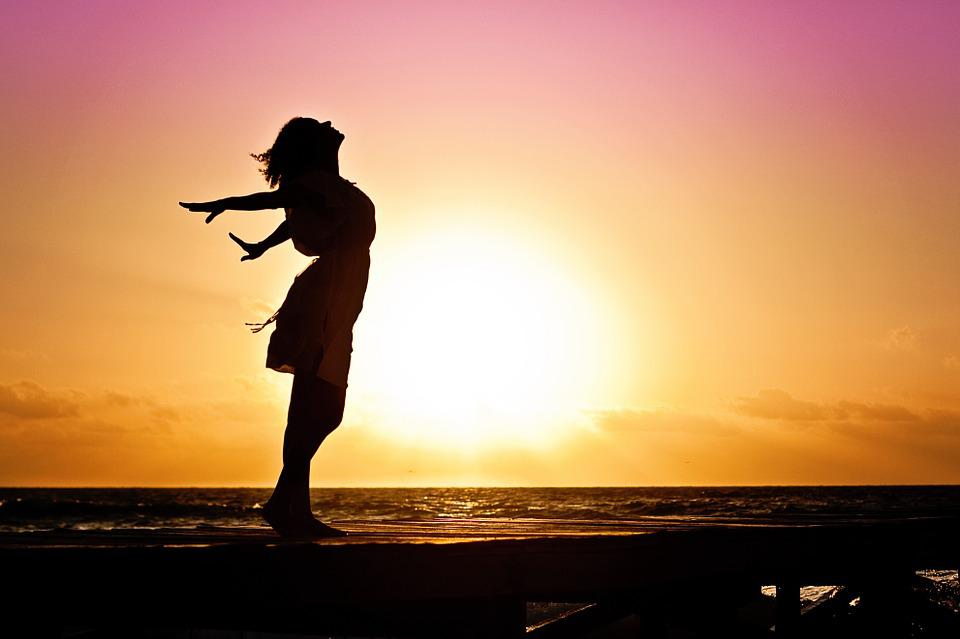 Woman, Happiness, Sunrise, Silhouette, Dress, Beach