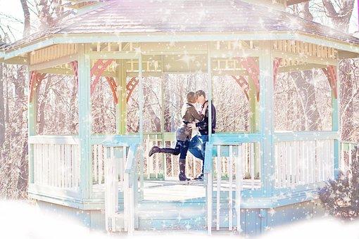 Couple, Kissing, Gazebo, Winter, Snow