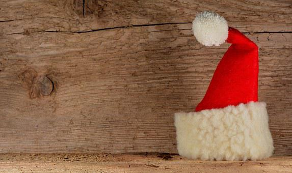 Santa Hat, Wood, Background, Christmas