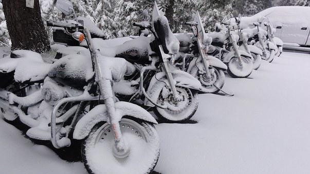 Harley Davidson, Motorcycle, Snow, Snowy