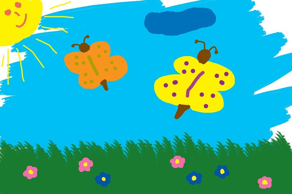 Enfants Dessin Papillons Prairie Image Gratuite Sur Pixabay