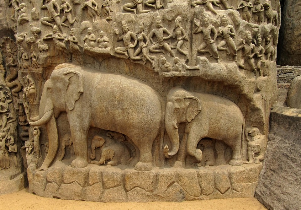 Free photo elephants bas relief indian image on