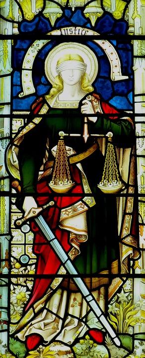 教会, 教会の窓, 判決, ガラス窓, ウィンドウ, ステンド グラス, キリスト教, 信仰, 正義, 天使