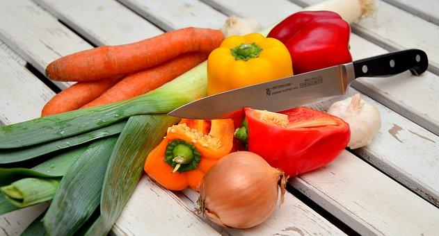 Vegetables, Knife, Paprika
