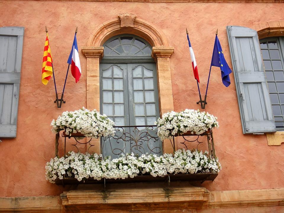 Façade, Provence, Fleuri, Printemps, Roussillon, Mairie