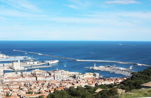 Sète, Mer, Port, Bleu, France, Rivage