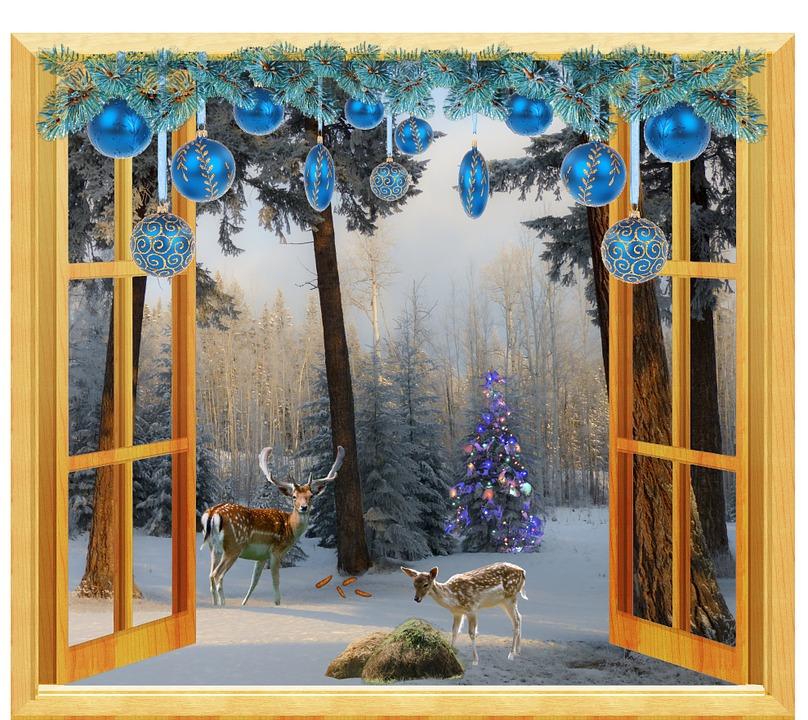 Illustration gratuite fen tre hiver no l chevreuil for Fenetre hiver