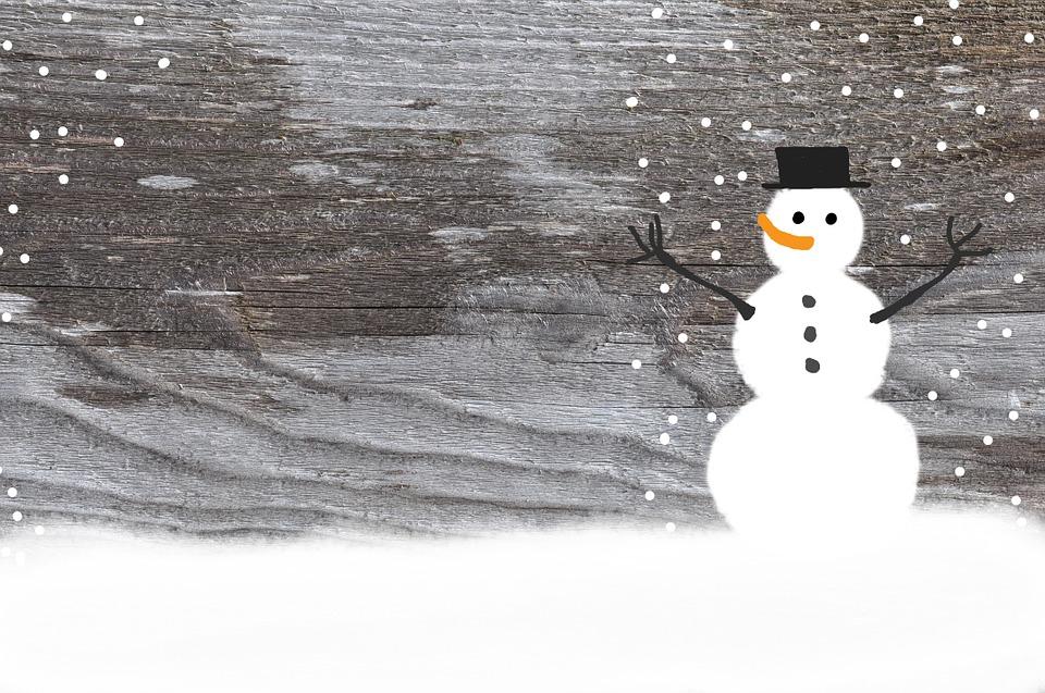 Snowman Wood Winter Cold Snow