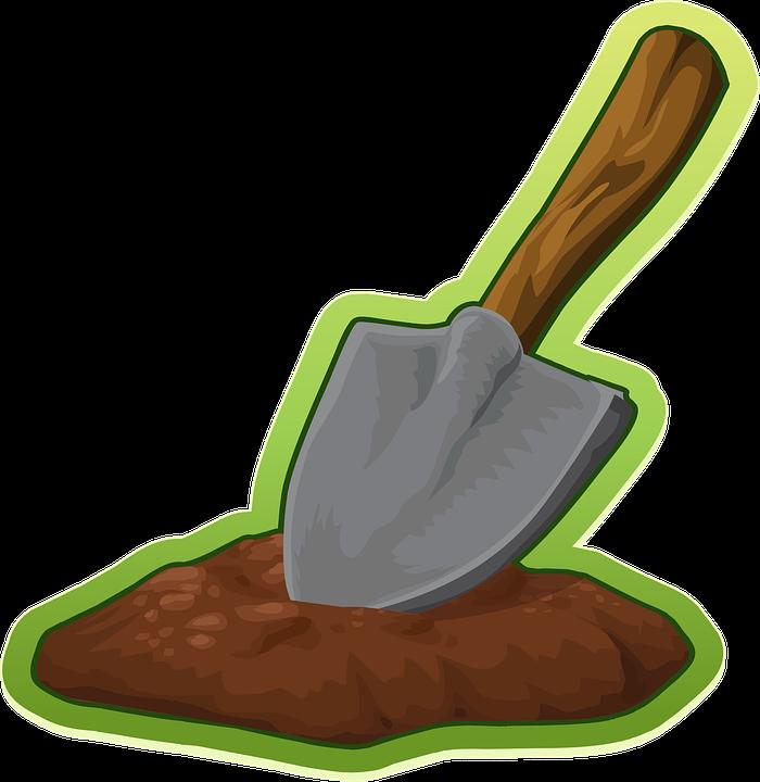 Pelle, truelle, creuser, équipement, outil, jardin, fer