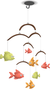 Mobile, Fish, Hanging, Toy, Animals