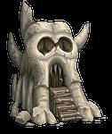 skull, castle