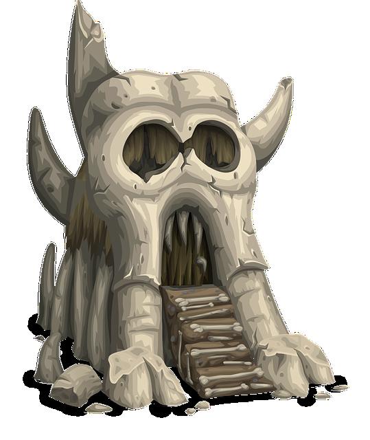 free vector graphic  skull  greyskull  castle  gatehouse - free image on pixabay
