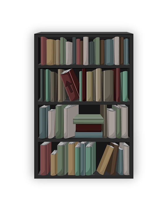 Books Shelves free vector graphic: bookcase, books, shelf, shelving - free image