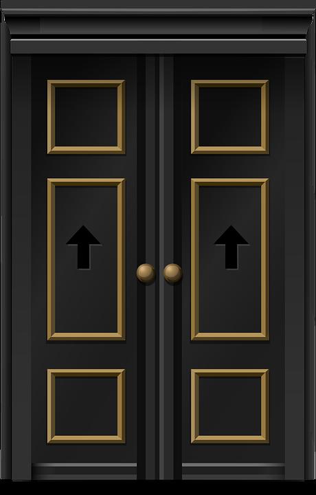 Doors Double Doors Entrance Entry Doorway Black