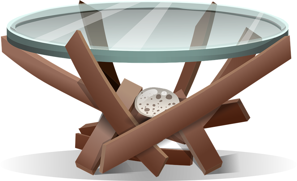 Table, Furniture, Round, Glass, Wood, Brown, Decor