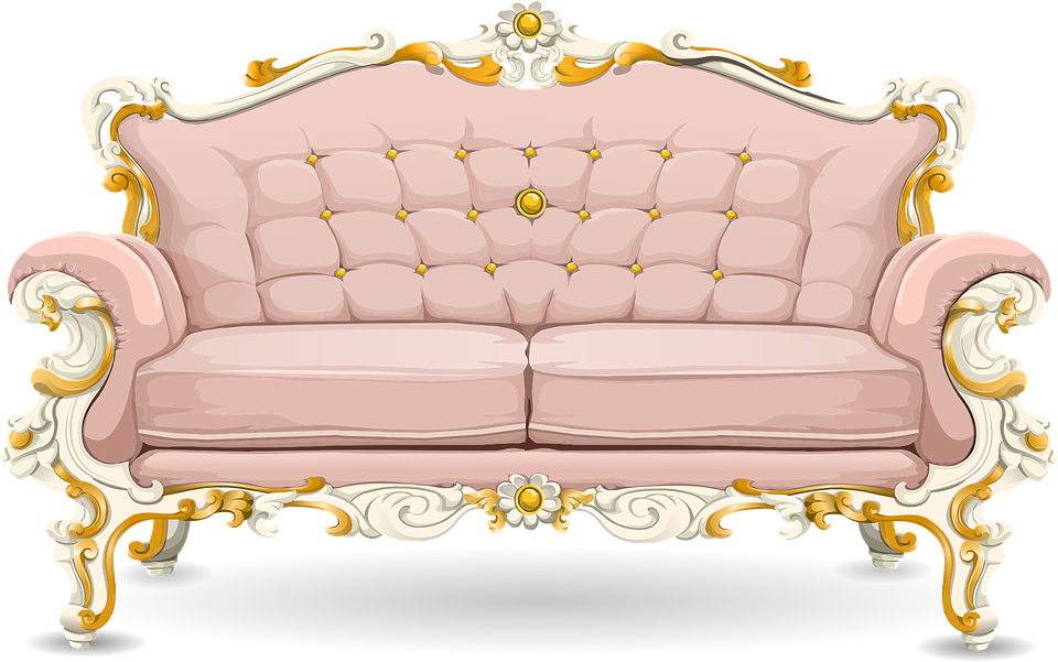 Couch Sofa Loveseat Pink Ornate Cushions