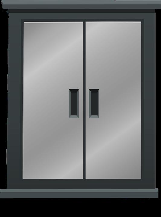 Metal Double Doors free vector graphic: double doors, metal, steel, grey - free image