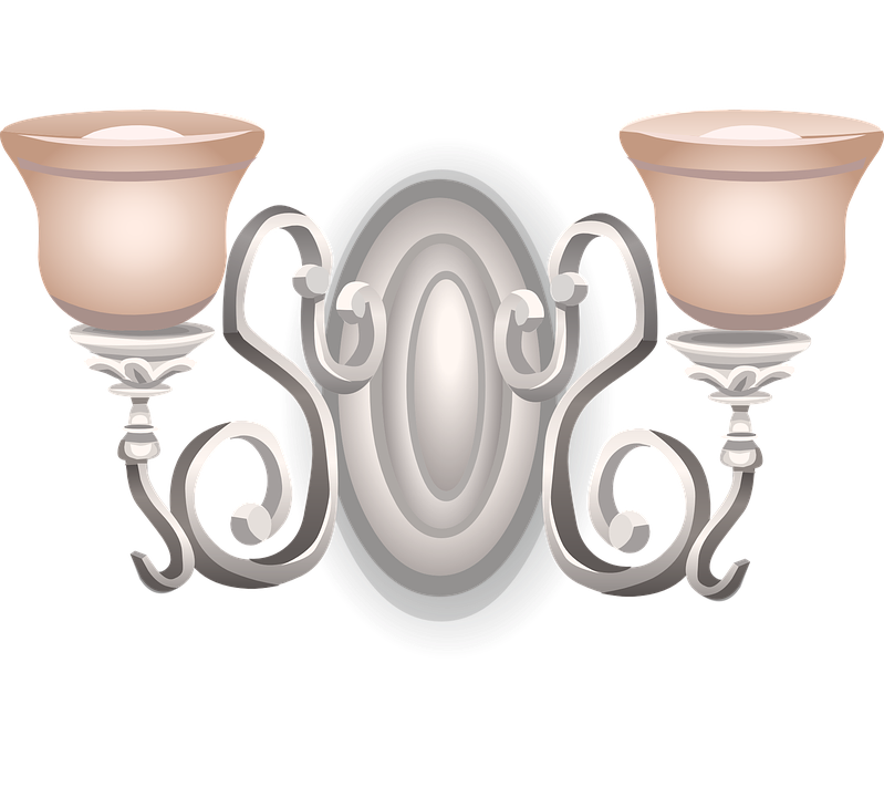 Lamp Wall Metal Glass Pink Silver Decoration