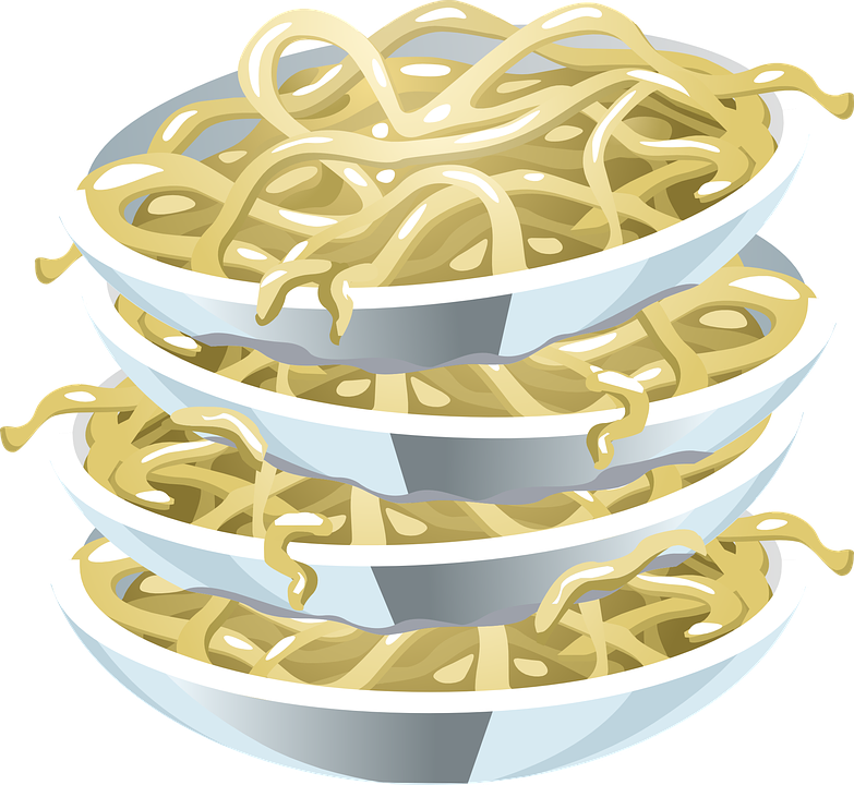 Free vector graphic: Pasta, Noodles, Plates, Stacked ...