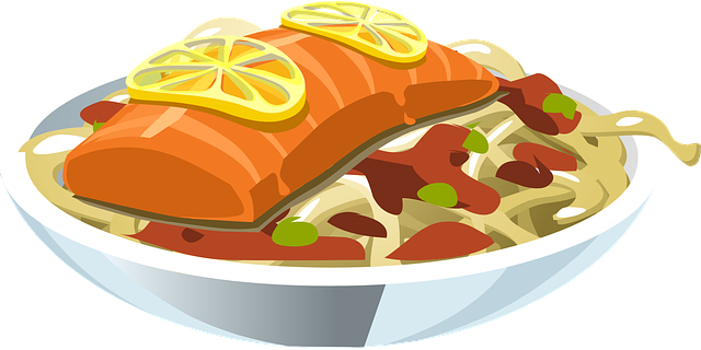 Free vector graphic food salmon lemon fish seafood for Canape plate definition